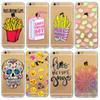 Buy Case Cover iphone 5 5s SE 6 6s Plus 6Plus Soft TPU Transparent French Frries Skull Emoji Flowers Tiger Painted Cases Bag