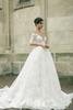 Buy Sexy Classical ball gown wedding dresses Half Sleeves Covered Buttons Full Chapel Train Wedding Dress