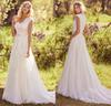 Buy Elegant Lace Appliques Tulle Modest Wedding Dresses Cap Sleeves V Neck Buttons Back Beaded Belt Country Bohemian Gowns