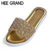 HEE GRAND Bling Flip Flops Summer Slippers Gold Silver Gladiator Sandals Platform Shoes Woman Slip Flats 4 Colors XWZ3037