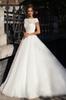 Buy Classical Cheap ball gowns Scalloped Short Sleeves Deep V-neck gown Garden Style Backless Chapel Train wedding dress Custom Made