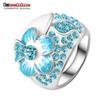 Buy LZESHINE New Hot Fashion Enamel Jewelry Genuine SWA Elements Ring Silver Plated Blue Austrian Crystal Flower Rings Ri-HQ0015-c