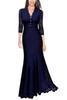Buy Line Sleeve Maxi V Neck Black Chiffon Women Evening Party Dresses Size 2XL Lace