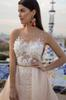 Buy Charming Mild Pink tulle ball gown wedding dress Cathedral Train Full Lace Sheer Neck simple Covered Buttons Custom Made