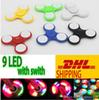 Buy 9 LED Light Switch Hand Spinners Fidget Spinner Triangle Finger Spinning Top Colorful Decompression Fingers Tip Tops Toys