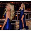 Buy 2017 New Sexy Evening Dresses V-neck Backless Royal Blue Ruched Aso Ebi Vestidos De Fiesta Side Slit Formal Prom Party Gowns line