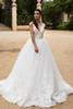 Buy Elegant Fashion Sweep Train vintage lace wedding dress V-neck Lace Appliques Top ball gown Full Covered Back Custom Made