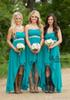 Buy 2017 Country Cheap Bridesmaid Dresses Teal Turquoise Chiffon Sweetheart Beaded Belt Party High Low Wedding Guest Dress Maid Honor Gowns