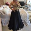 ZYLLGF 2018 Long Sleeves Prom Dresses with Gold Lace Appliqued Beads Satin Prom Gowns Long Arabic Dubai Evening Party Dress