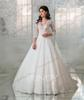 Grace Ivory&Champagne 3 4 Sleeves Applique A-Line Wedding Dresses Bridal Pageant Dresses Wedding Attire Dresses Custom Size 2-16 ZW712163