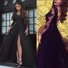 Glamorous Long Sleeve Black Slit Lace Evening Dress Sexy Black Prom Dress Floor Length Formal Party Evening Gowns