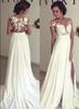 2018 Bohemian Chiffon Wedding Dresses Cheap Sheer Crew Neck Lace Appliques High Spplit Hollow Back Boho Beach Long Bridal Gowns