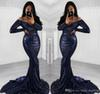 2018 Sexy Navy Blue Sequined Prom Dress Long Sleeves Formal Pageant Holidays Wear Graduation Evening Party Gown Custom Made Plus Size