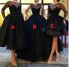 Beading Pearls Black Tulle Long Prom Dresses With Long Sleeves Illusion Neck Tiered Pleats Formal Party Gowns Tea Length Homecoming Dress