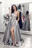 Adorable One Long Sleeve One Shoulder Prom Dresses Satin With Pocket Lace Applique Thigh-High Slit Formal Evening Dresses