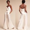 Wedding Jumpsuit 2017 Summer with Pockets ad Spaghetti Neck Dramatic Beach Wedding Ceremony Dress with Wide-Leg Pants & Zipper Back