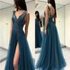Long Prom Dresses Dark Blue Vestido De Festa Illusion Bodice Backless Front Slit Special Occasion Gowns Appliques Beading Formal Party Dress