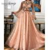 Peach Prom Dresses Long Sleeve Tulle Hand Made Flowers Embroidery A Line Floor Length Evening Dresses Gowns