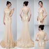 Luxury Ladies Long Champagne Beading Illusion Crastal Mermaid Sleeveless Evening Dresses 2019 New Sexy Sweep Train Prom Dress Party Gowns
