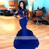 Gorgeous High-neck Long Sleeve Prom Dresses 2019 Lace Stretch Satin Mermaid Formal Celebrity Gowns New Royal Blue Zuhair Murad Evening Gown