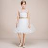 Latest Fashion Lovely Back Design Knee Length Teenager Girls' Party Dress With Appliques Design Popular Flower Girl White Tulle Gowns