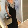 Classic Black Prom Dresses Beading Tassel Velour Evening Dresses 2019 Dubai Deep V Neck Sleeveless Sexy Evening Gowns