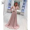 Simple Evening Gowns Elegant Plunging V Neck Appliqued Lace Long Sleeve A Line Coral Prom Dresses 2019