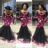 African Women Mermaid Evening Dresses Black And Fushcia Lace Appliques Long Sleeves Prom Dress Plus Size Party Dress Custom Made