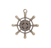10PCS Antiqued Bronze Steering Wheel alloy metal Charm Penda...