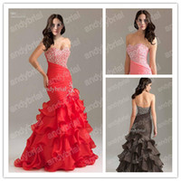 Red Mermaid Prom Dresses with Crystal Beading 2015 New Styli...