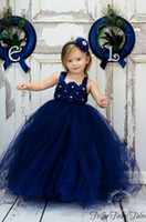 Royal Blue Flower Girls Dresses 2015 Ball Gowns Empire Hand-...