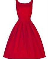 Дешевые Новый 2015 платье Лето Черный Красный шар Синий O-образным вырезом без рукавов ретро вскользь платье партии Robe Rockabilly Плюс размер женщин Причинное платье T1751