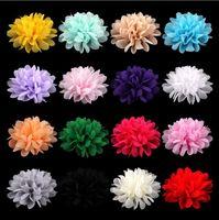 Chiffon Flores Para Baby Girl Headwear Meninas Cabeça Flor Acessórios Cabelo Tecido Chiffon Flores Com cocar de crianças 1587
