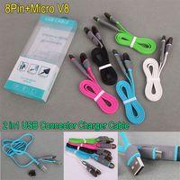 Micro USB синхронизации данных разъем для подключения зарядного кабеля 1м 2в1 Flat Лапша зарядный кабель для Samsung Galaxy S6 / S5 / S4 Примечание 4 HTC Huawei