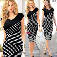 2015 Splice Stripe Sheath Women Work Dresses V Neck Short Sl...