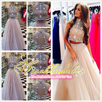 2015 Two Piece Prom Dresses Champagne Tulle Long Prom Dresse...