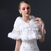 New Junoesque White Imitation fur Lace bridal wrap shrug sto...