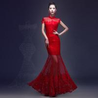 Lace Chinese Long Cheongsam Wedding dress for women hollowed...