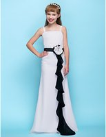 White Junior Bridesmaids Dresses Chiffon Spaghetti Straps Wi...