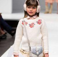 Pure Cotton Girls Crochet Sweater Autumn Winter Rose Embroid...