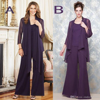 2016 Purple Chiffon Casual Mother' s Pants Suit Sheer Cr...