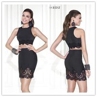 2015 Tarik Ediz Two Piece Party Dresses Black Cocktail Dress...