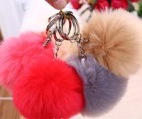 EPACK 100pcs 13 couleurs 10CM fausse copie Lapin Faux boule de fourrure porte-clés en peluche pour l'anneau de clé de voiture sac pendentif voiture trousseau