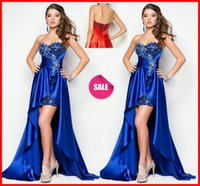 Royal Blue Sequined Prom Dresses Hi Lo Short Front and Long ...