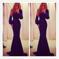 2015 Mermaid Sexy Deep V- Neck Evening Dresses with Long Slee...