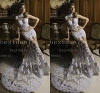 2015 High Collar Lace Wedding Dresses 2014 Sexy Sheer Mermai...