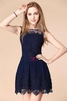 Navy Blue Crochet Sleeveless Mini Short Lace Causal Dresses ...