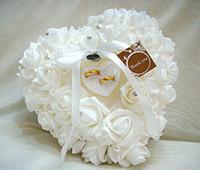 Красочные белые кристаллы Pearl Люкс кольцо подушки органза атласные кружева Bearer цветок розы Подушки Люкс Поставки из бисера венчания Box
