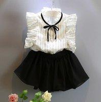 Kid Girls' 2PCS Set Suit OL Striped Lace Cap Sleeve Rib...