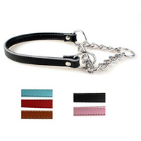 Half Choke Chain Leather Dog Training Collar 5 Colors Avalia...